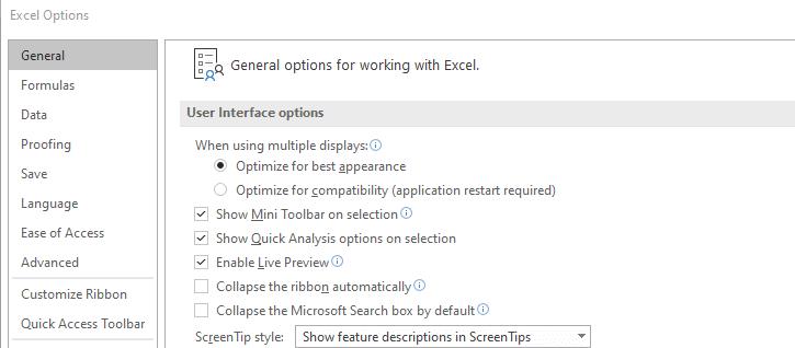 Excel general settings