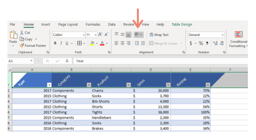 Excel rotate headings