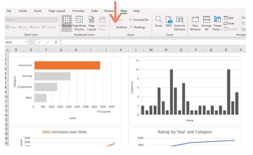 Excel remove gridlines